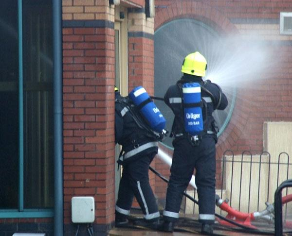 Firefighters at the Abbey Leisure Centre blaze