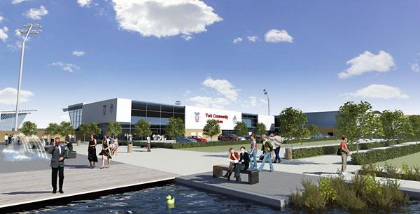 An artist's impression of the proposed Monks Cross community stadium and its surroundings