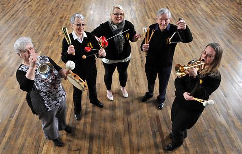 Members of Swinton and District Excelsior Brass Band get ready for the relay, from left, Jane Ford, Catherine Stallybrass, Alice Tasane, Derek Cryer and Tracey Popham
