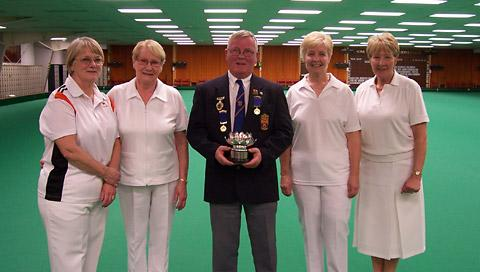 Ladies pairs league play-off winners and runners-up from left, Sheila Turpin and Joan Jackson, club president Barry Potter, Carol Banks and Dot Kennelly