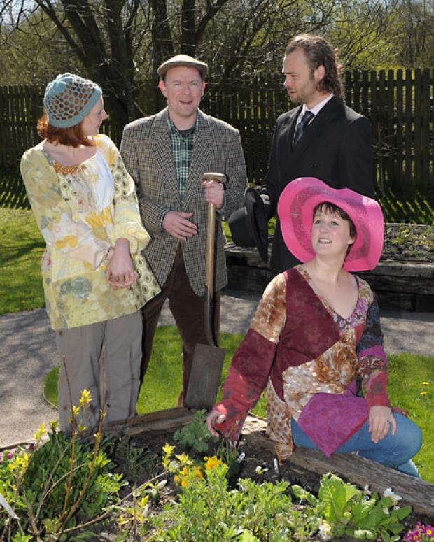 The cast for Losing The Plot, Caroline Hallam, Robert Took, Nicholas Coutu-Langmead and Ruth Cataroche