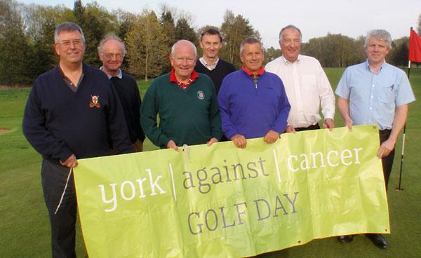 "Preparing for the ""dusk to dawn"" golf game at York Golf Club are, from left, Peter Burnett, David Walsh, Ralph Magee, Peter Smith, John Donaldson, Steve Leveson and Sean Kelly"