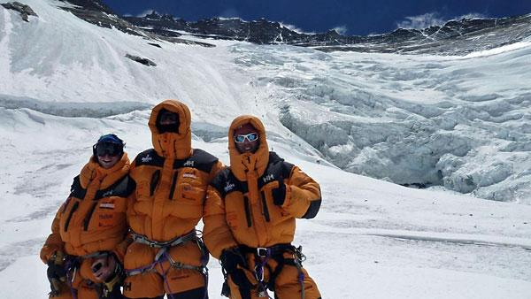 Members of the Walking With The Wounded team on Everest are, from left, Francis Atkinson, David Wiseman of Tadcaster and Martin Hewitt