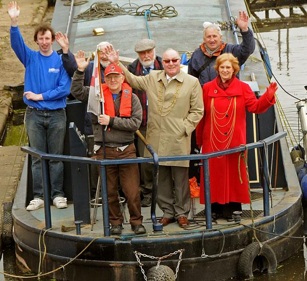 On board the Moon River for a trip down the River Foss are the Lord Mayor of York, Coun David Horton, the Lady Mayoress, Jane Horton, and from the front left, Michael Cadoux, Mark Graham, Roy Shilleto, Tony Martin and John Millett