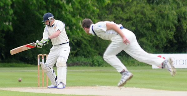 York's Jake Murphy almost bags the wicket of Driffield's Sam Drury