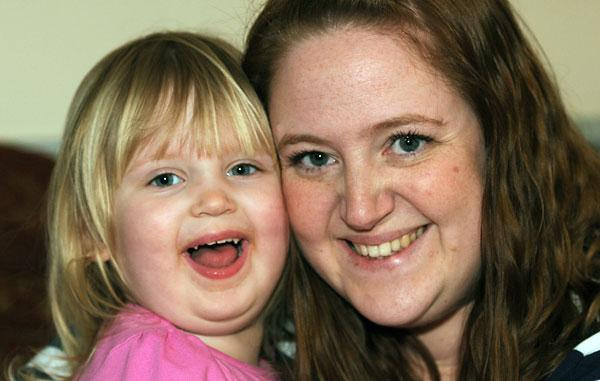 Emma Atkinson and her two-year-old daughter Ava Gallantree at home in York