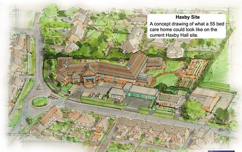 An artist's impression of the new  Haxby Hall care home