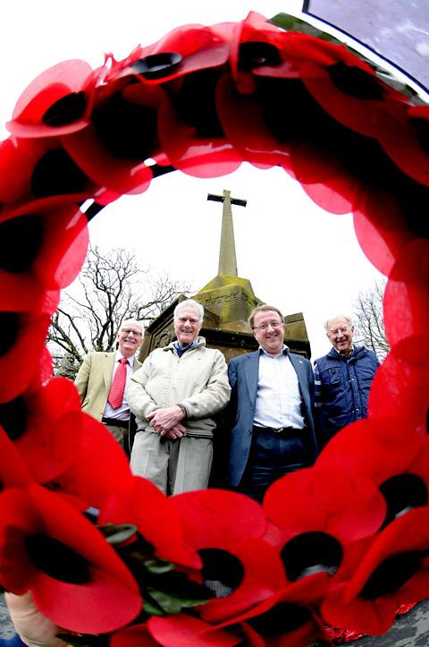 From the left, Paul Farndale, Colin Jennings, Alan Mitchell and John Howard who have unveiled plans to revamp Malton War Memorial