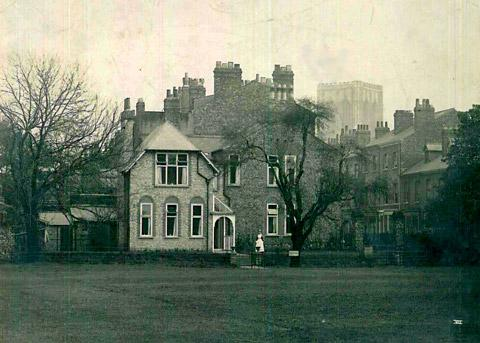 The Bootham School Sanatorium, known as the Lodge, before the bomb struck