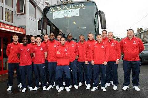 York City's players and management prepare to leave Bootham Crescent for the capital ahead of their FA Trophy final date with Newport County at Wembley on SaturdayYork City Goalkeeper: Michael Ingham – former Northern Ireland international who has kep