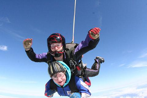 Helen Westmancoat is pictured in action last year when she made a tandem jump for charity