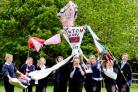Wigginton Primary School pupils with their sporting giant Jack, aka Ed