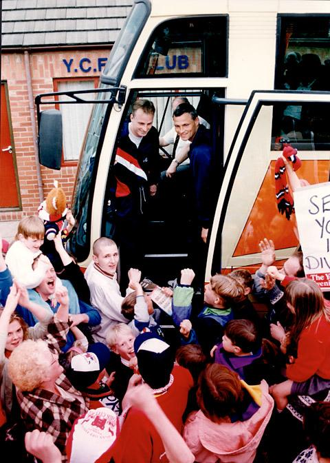 York City favourite Jon McCarthy and manager Alan Little are given a rousing send off before their 1993 Wembley triumph