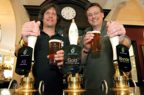 Dave Shaw (right), the owner and brewer at The Hop Studio in Elvington, with Jon Chappell, manager at York Tap, where Dave's new beers were unveiled