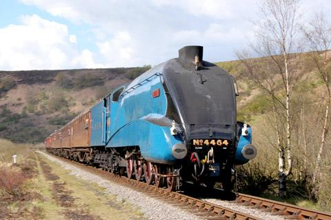 The Bittern slides into view, pulling wooden carriages