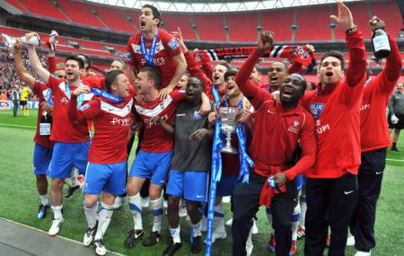 York City are promoted to the Football League after beating Luton Town in the play-off final at Wembley
