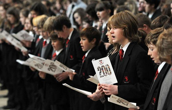 Pupils singing during the Manor School 200th anniversary service at York Minster.