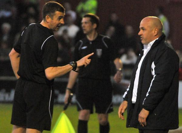 Referee Steve Smith sending the then Luton Town   manager, Gary Brabin, from the touchline during the match with York City on April 19, 2011
