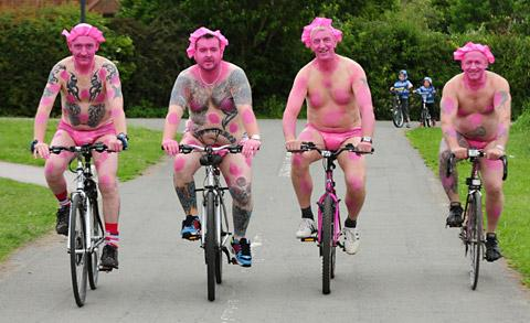 Riders taking part in last year's York Naked Bike Ride