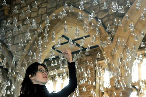 Artist Laura Belém with her instalation