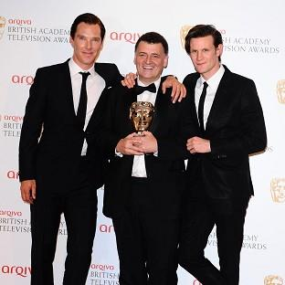 Benedict Cumberbatch, left, Steven Moffat with the Special Award and Matt Smith at the Baftas