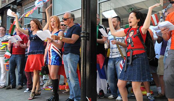 Eurovision Song Contest fans take part in the Euroglitz event in York's Coppergate Centre