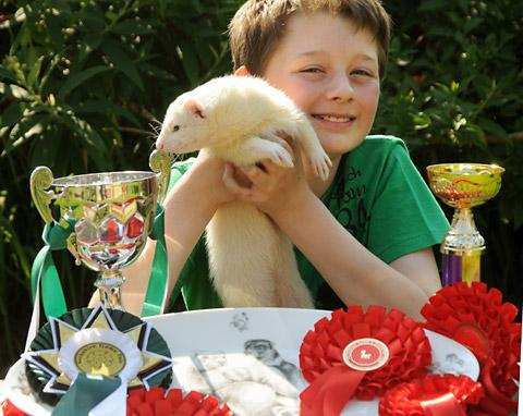 Cailean Newbould, 11, of Huntington, with his prize-winning ferret Teddy