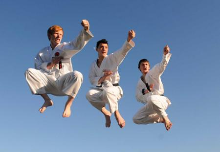 York Kenshinkan Karate Club trio, from left, Alistair Bevan, Jerome Barlow and Aron Blair will compete for England this weekend in the Japanese Karate Association European Junior Championships.