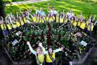 Sabyn Maude and Lily Milligan alongside fellow Brownies at the Millennium Gardens in Poppleton