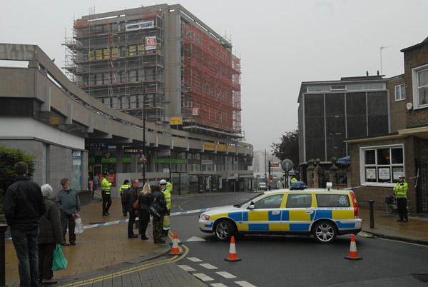 October 2009 and police cordon off the area around The Stonebow after Colin Bluck threatened to jump off scaffolding