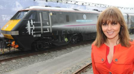 TV presenter Carol Vorderman launches Railfest at the National Railway Museum as the Battle Of Britain Memorial Flight locomotive is unveiled