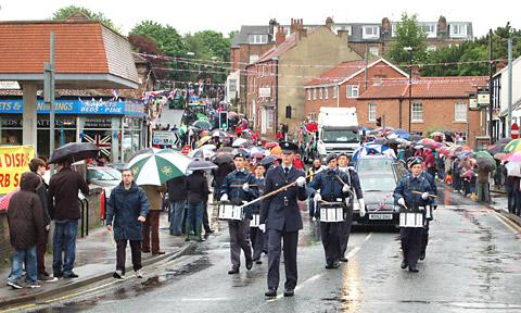 Church Fenton Squadron Air Cadets lead the parade through the streets of Tadcaster. Picture:  Wendy Binns