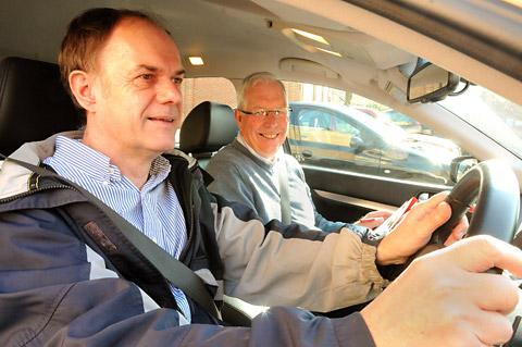 Steve Nelson, left, is assessed by the Institute of Advanced Motorists' Alan Fisher