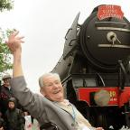 George Lamb, 92, with Flying Scotsman