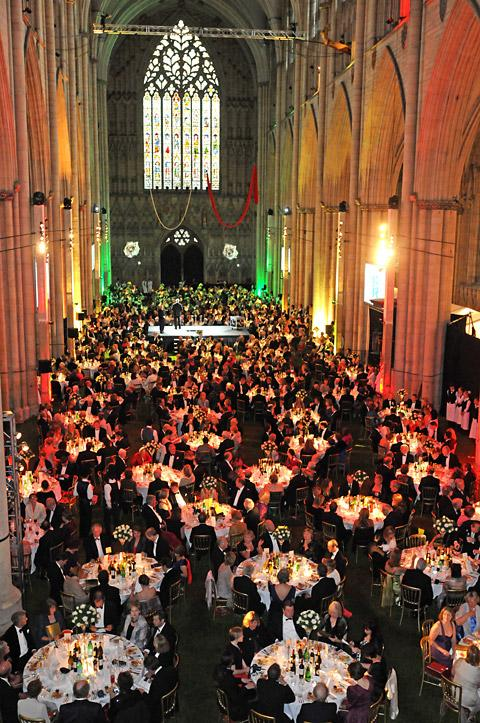 The York Minster Rose Dinner saluting the Queen's Diamond Jubilee on the lawn in the Minster nave attended by 900 guests