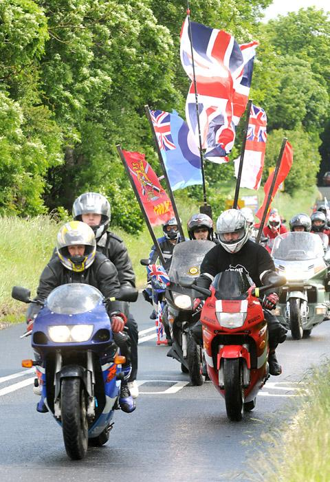 Some of fhe 600 motorcyclists who set off from Squires Café Bar in Sherburn-in-Elmet in aid of Help for Heroes
