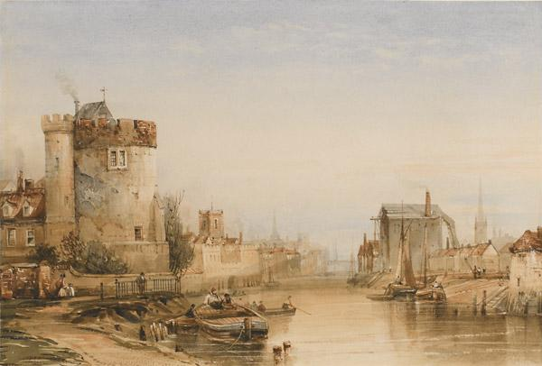 Lendal Tower towards Ouse Bridge, c1850, watercolour by Henry Barlow Carter. Private collection