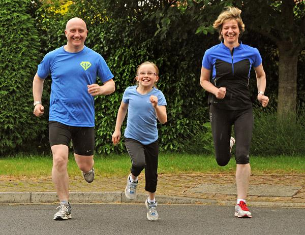 The Brennans, Chris, Katie and Louise, of Acaster Malbis who are running in the York 10k.