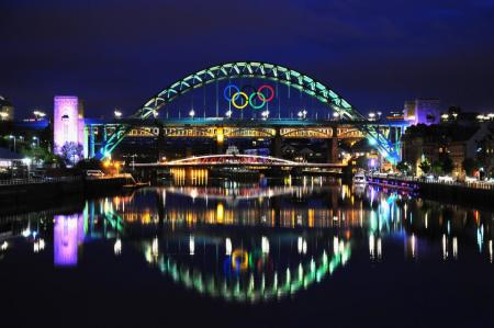 Tyne at night: spectacular shot of the famous bridge in Newcastle upon Tyne...
