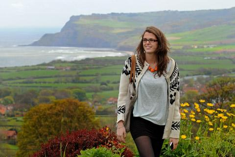 Jessica at home in Raw with the backdrop of Ravenscar which she wakes to daily