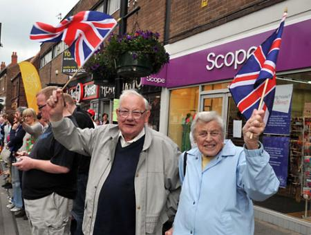 Crowds line the streets of Selby to see the Olympic Torch
