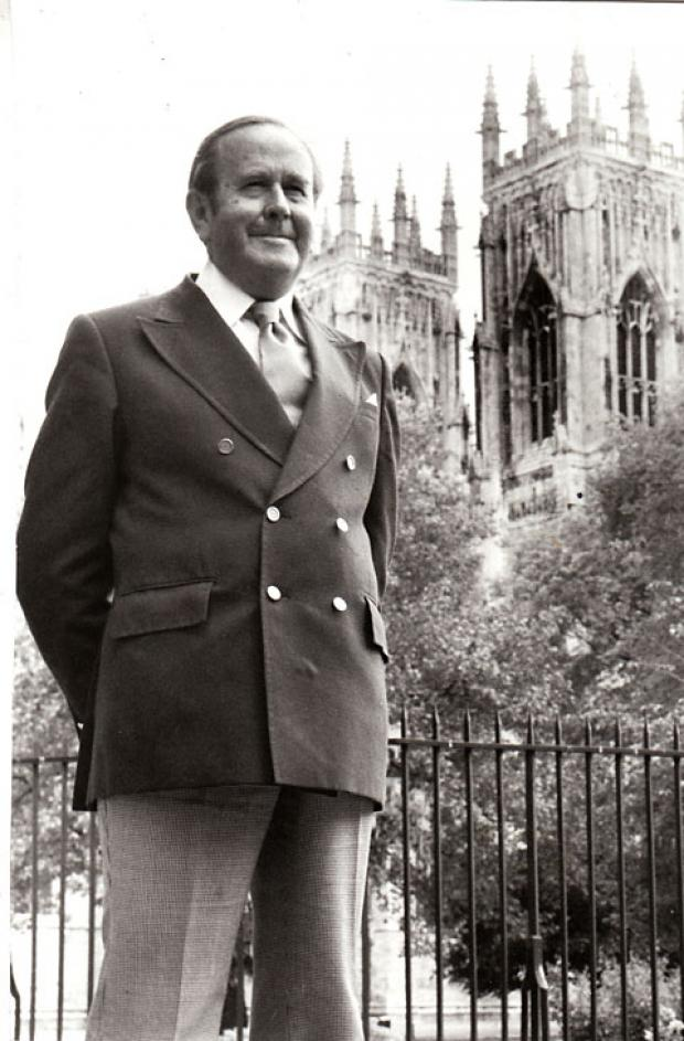 Christopher Chapman, pictured in 1978 on his appointment as lay canon provincial at York Minster in recognition of his long and distinguished service to the Church