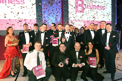 The Press Business Awards finalists gather on stage at the end of last year's ceremony