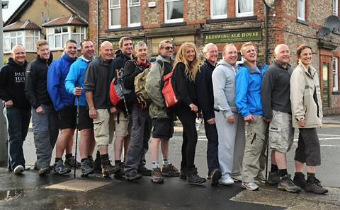 Walkers gather at the Beeswing in York, before tackling the Lyke Wake Walk