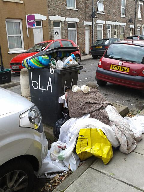 Rubbish left in a York street