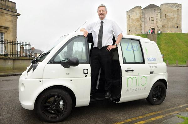 Councillor Dave Merrett with the Mia U electric van