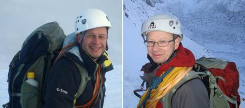 Steve Barber (left) and John Taylor, who were killed in an avalanche in the French Alps.