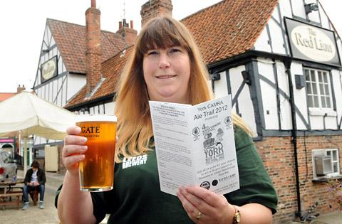 Melissa Reed, with the 2012 York CAMRA Ale Trail, at the Red Lion in Merchantgate, York