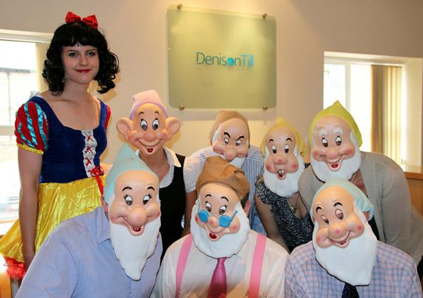 Trainee solicitor Charlotte Haigh as Snow White, and the seven solicitors, which include Lionel Lennox, running as Doc, who was a trustee of the hospice for ten years, and managing partner, Alistair Duncan, running as Grumpy, who is a current trustee