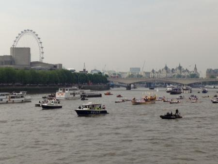 Torch Relay nears its end as it travels along the Thames past the South Bank